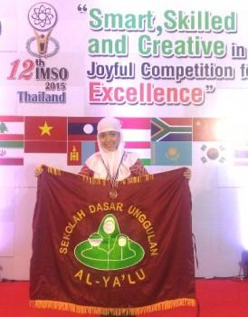 Pravieta, siswa SD UnggulanAl-Ya'lu saat di arena IMSO 12 di Thailand